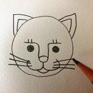 猫のイラストレッスンその5(全7回)ひげを描く