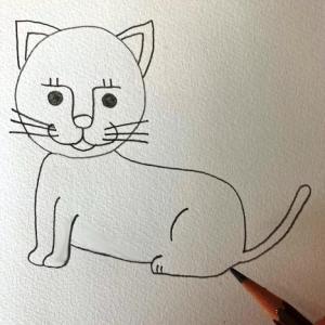 猫のイラストレッスンその7(全7回)胴体と後ろ足としっぽを描く