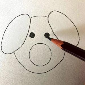 犬のイラストレッスンその4(全6回)目を描く