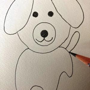 犬のイラストレッスンその6(全6回)胴体と足としっぽを描く