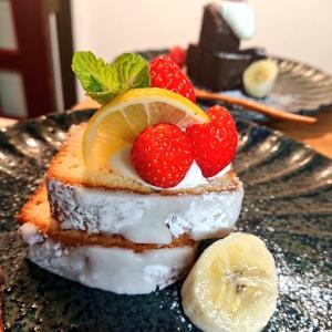 いちじくのチョコレートパウンドケーキ。ラムレーズンとレモンの、パウンドケーキ