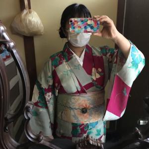 涼暮月のコーデ 其の三 LUNCOさんの市松柄の夏着物でコーデ!!