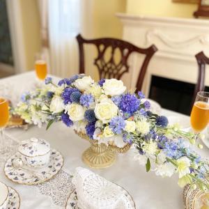 さわやかなブルーのテーブルアレンジ♪