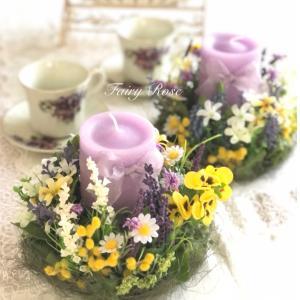 早春の花キャンドルリース2個セット♡おうちで楽しむ通信レッスン第二弾