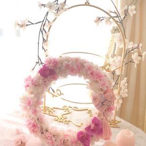 ひと足早い春を♡桜リース