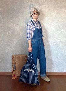 オーバーオール装着してお帽子乗せた感じの●今日のスタイル●しまむら・アベイル・Leno&co.・オールドマンズテーラー・BIRKENSTOCKなど