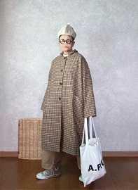 アベイルちゃんのコートで●今日のスタイル●しまむら・アベイル・merlort・A.P.C.mite帽子・converseなど