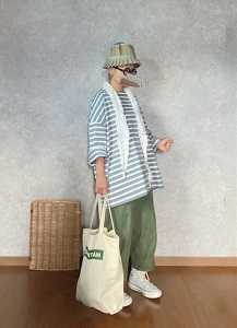 GUボーダー買いましたを装着な●今日のスタイル●しまむら・アベイル・GU・ローナマーレイ・DAISO・converseなど