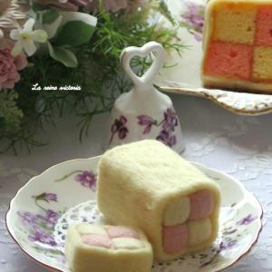 可愛い羊毛フェルトのバッテンバーグケーキ♡
