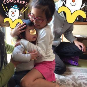 次女(ほっぺ)1歳のお誕生日会で恒例の一升餅を背負わせた話