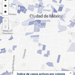 メキシコシティ、コロナ感染者マップ