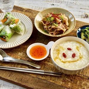 【料理教室✖️大阪ガス】ランチのとろとろ中華粥 生春巻き 醤油豚とか