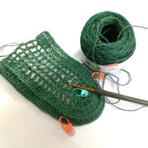 麻のエコバック(1):アブサラクリコさんとこの糸でエコバックを編み始めました