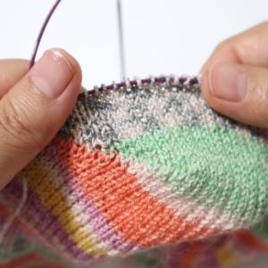 コットン靴下(4):比較的簡単なカカト編み(ドイツ式引き返し編み)を理解したー
