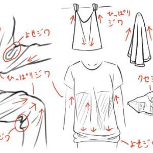 服のシワの描き方を動物の皮膚の質感に応用する