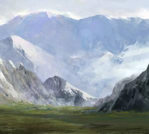クリップペイントで描く雪山のある風景の描き方