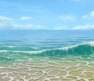 【背景】浜辺の波と水面の描き方【うごイラ】