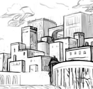 【背景】海辺の街【メイキング】