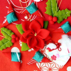 クリスマスハンドメイド和風オーナメント⑤ポインセチア