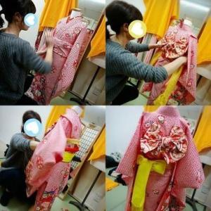 第2回目 🍀七歳女児祝い着🍀作り帯編🍀技術者様向け着付けレッスンの生徒さんです♡