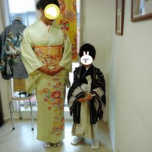 七五三祝い着☆五歳男児袴着&ママさん訪問着☆親子様で着物をお召しになりませんか(⋈◍>◡<◍)。✧♡