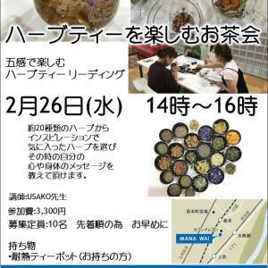 2/26ハーブティーを楽しむお茶会開催