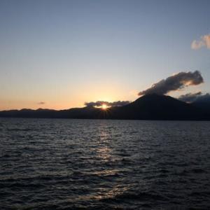 支笏湖の夕焼け…