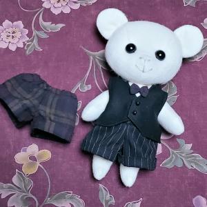 【minne】新郎くまちゃんの新しい服、ズボンも出来た【ウェルカムドール】