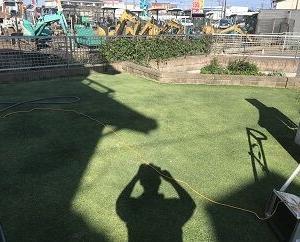 夕方から芝刈り