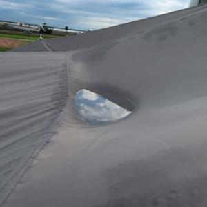 またやってしまったタープの水たまり、張り方の問題ももあるが加工の仕方が悪かった (2020/8/15)