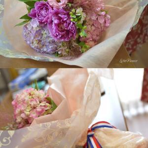 【教室の案内】あじさいのピンク花束&アレンジ