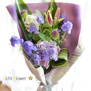 レッスンに紫陽花入りの花束を