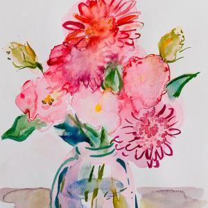 【水彩画】トルコキキョウとガーベラ 3*花の半抽象画