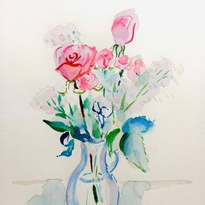 【水彩画】薔薇とかすみ草*半抽象画