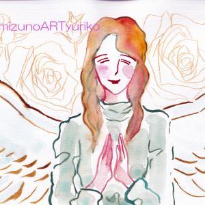 【微笑む天使】制作過程※下絵~水彩~薔薇の下絵まで