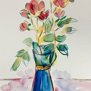 【水彩画】花瓶の赤いミニ薔薇