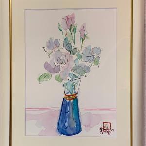 花の水彩画販売中です♪「白薔薇」「アネモネ」「花瓶の赤いミニ薔薇」