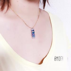 レジン☆琉球ガラスの六角柱ネックレス