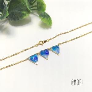レジン☆琉球ガラスの三角ネックレス