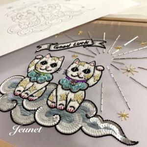 招き猫の刺繍とレッスン日程