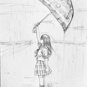 へんてこな傘とセーラー服着た人☆ 笑