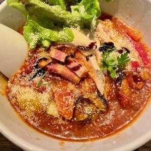 麺や豊にて、完熟トマトの冷やしそば、リゾットごはんを食す