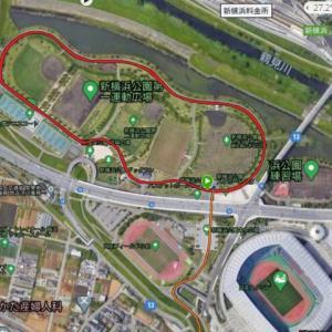 久々の新横浜公園で5km20分切り