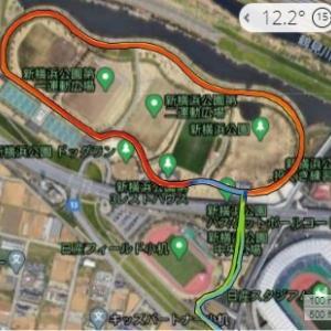 今週も5km×3ビルドアップ@新横浜公園