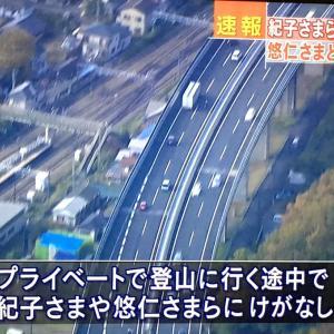 【速報】秋篠宮妃・紀子さまと悠仁さまら6人が乗った車が中央道で追突事故 けがはなし