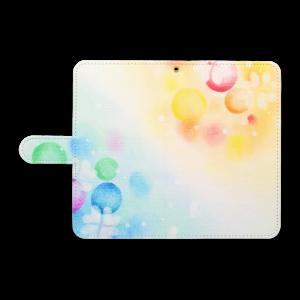 手帳型スマートフォンケース「ふわふわシャボン玉」