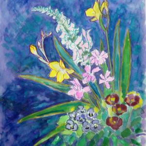 水彩「初春の花々」