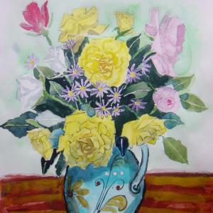 水彩「我が家に咲いたバラ」
