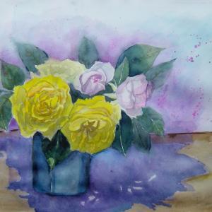 水彩「我が家のバラー2」