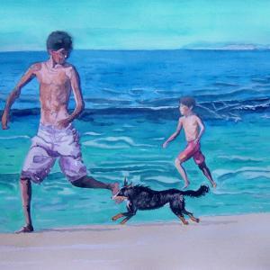 水彩「犬とかけっこ」